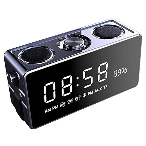 Vinteen Bluetooth Lautsprecher Übergewicht Bass Gun Wireless Mini Handy Onboard Kleine Sound Familie Verwendung Wecker Outdoor Lautsprecher Coral Grey/Rose Gold/Champagner Gold (Color : Black)