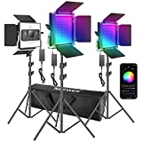 Neewer 3 Packs 480 RGB Led Light with APP Control, Photography Video Lighting Kit with Stands and Bag, 480 SMD LEDs CRI95/3200K-5600K/Brightness 0-100%/0-360 Adjustable Colors/9 Applicable Scenes
