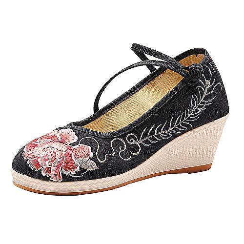 Chinesische bestickte Schuhe, chinesische gestickte Blumenschuhe für Frauen, Top-Anti-Rutsch-Leistung und Stoffschuhe im Vintage-Stil für Balletttanz Ethnischer Tanz Gestickte Schuhe,Schwarz,EU38