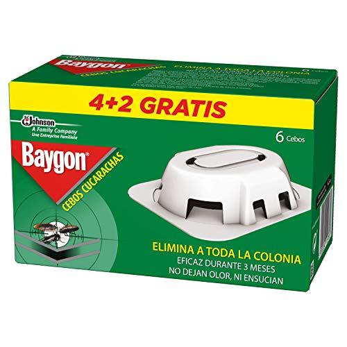 Baygon Trampas - Cebo para Cucarachas, 3 Meses de Protección, Máxima Eficacia, Contiene 6 Cebos, Blanco, Estandar