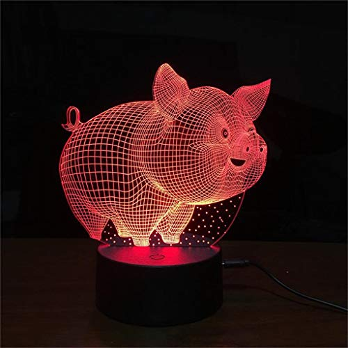 Z-HOMZYY 3D-nachtlampje Pig Sleep Lighting fantoomlamp 7-kleurig optisch USB-LED Touch-Desk-Nachtlampje, jongens en meisjes