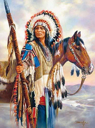 Pintura por Números para Adultos, Caballo y hombre tribales Kit de Pintura al óleo de Lienzo DIY para Niños con Pinceles, Pigmento Acrílico, Pintura de Dibujo DIY, 40X50 cm Sin Marco