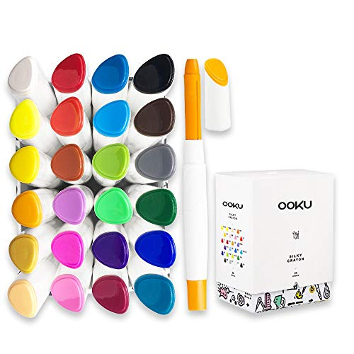 OOKU 24 Pcs Washable Crayons Watercolor Set for Kids/Toddler/Adults -Non-Toxic & No Mess Coloring Gel Crayons | Twistable, Retractable Color Crayons, Oil Pastels, Watercolor Painting Art Supplies