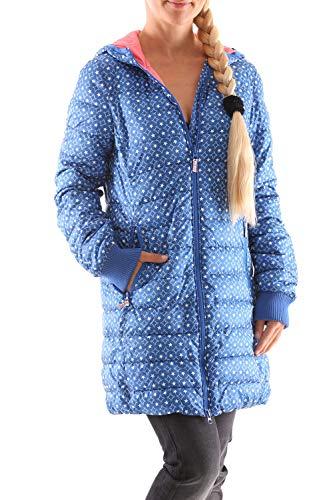 Blutsgeschwister Leichte Laune Long Jacket Damen Daunen Jacke Mantel, Größe:XL, Farbe:Blau (Stars of Manege)