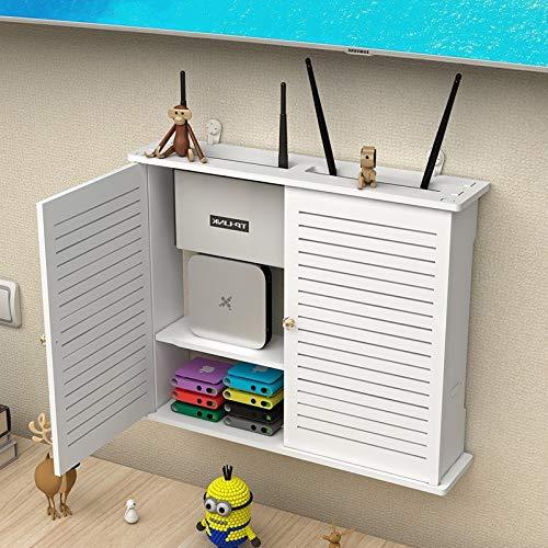 GDF-FLOATING SHELVES Weißes Wandregal Wandschwimmendes Regal TV-Ständer Wandhintergrund Dekorativer Rahmen Router Lagerregal Kabelbox DVD-Player
