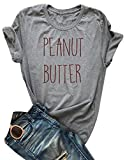 Peanut Butter Jelly Shirts for Best Friends Women Short Sleeve Funny T Shirts Top Size L (Gray)