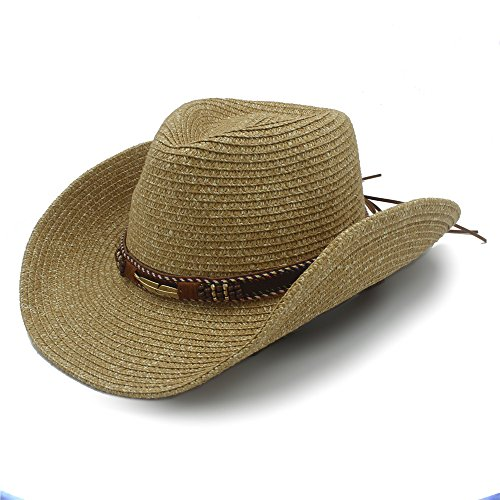 """Best Choise Sombrero de Vaquero Occidental Hueco para Hombres Sombrero de Paja para Mujeres con cinturón de Cuero 22"""" Hermoso (Color : 1, Size : 57cm-59cm)"""