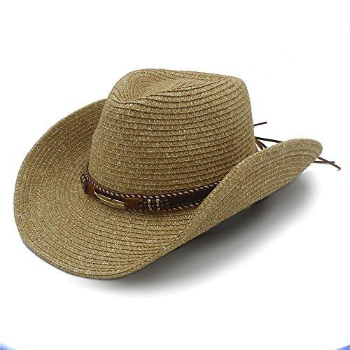 Best Choise Sombrero de Vaquero Occidental Hueco para Hombres Sombrero de Paja para Mujeres con cinturón de Cuero 22