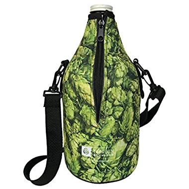 Taproom Supplies 64oz Premium Zip-Up Full Color Beer Growler Coozie with removable adjustable straps, coolie (64 oz, Green Hops)