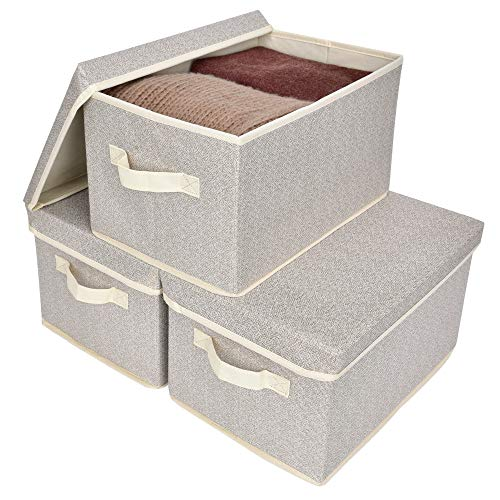 GRANNY SAYS Storage Bins for Closet with Lids and Handles Rectangle Storage Box Fabric Storage Baskets Containers Beige Large 3-Pack