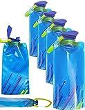 Outdoor Saxx® - 4X Faltbare Trink-Flasche mit Karabiner-Haken, BPA-frei, Platz-sparender Trink-Beutel mit Halterung für Rucksack Fahrrad, Wandern Berg-Tour Reise Festival Flugzeug, 700ml, 4er Set