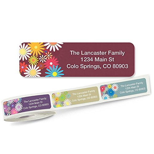 Petite Flowers Rolled Address Labels with Clear Dispenser by Colorful Images (5 Designs) Roll of 250