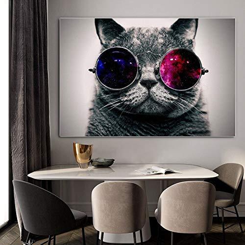 Pintura en Lienzo, Carteles de Animales, imágenes de Gatos Lindos con Gafas para habitación de niños, Sala de Estar, decoración Moderna del hogar 30x40cm