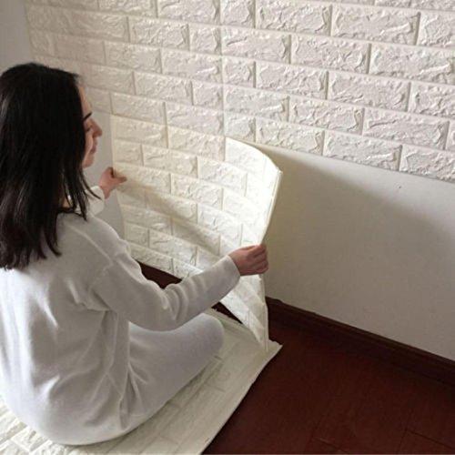 OHQ Pegatina De Pared PE De Espuma De 3D Wallpaper DIY Pared Pegatinas DecoracióN De Pared En Relieve Piedra De Ladrillo (60 X 60 X 0.8 cm, Blanco l#2)