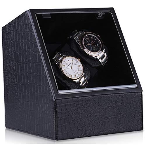 CRITIRON Watch Winder 2+0, Cajas Giratorias para Reloj Automático Clasico, Relojes Caja de Almacenamiento Pantalla