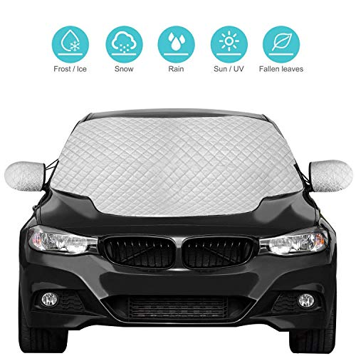 Car Windshield Snow Cover, Sun Shade Protector with Cotton Thicker, Roogeld Snow Protection Cover Fits Most of Car