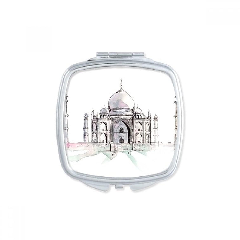 ノートジェット等インドにタージマハール スクエアコンパクトメークアップポケットミラー携帯用の小さなかわいいハンドミラープレゼント