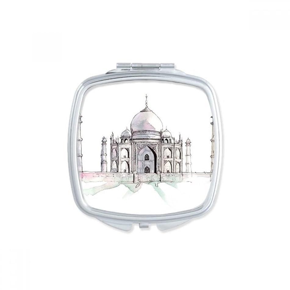 鳴り響くスポーツをする気候インドにタージマハール スクエアコンパクトメークアップポケットミラー携帯用の小さなかわいいハンドミラープレゼント