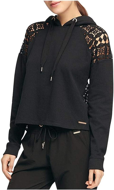 Women Karan Womens LacePanel Crop Hoodie