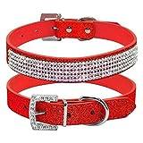 haoyueer Bonito collar de piel brillante para perro y gato con diamantes de imitación de diamante de cristal para perro y perrito … (M, rojo)