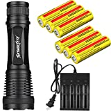 Tokeyla LED 18650 Flashlight, Included 6PCS 18650 Rechargeable Battery and 18650 Battery Charger,Water Resistant, Zoomable, 5 Modes Flashlight for Camping, Outdoor, Emergency, Everyday Flashlights