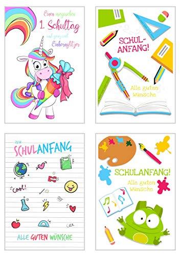Set 4 exklusive Karten zur Einschulung mit Umschlag. Glückwunschkarte Grusskarte Einschulungskarte Doppelkarte Schulanfang Schuleinführung
