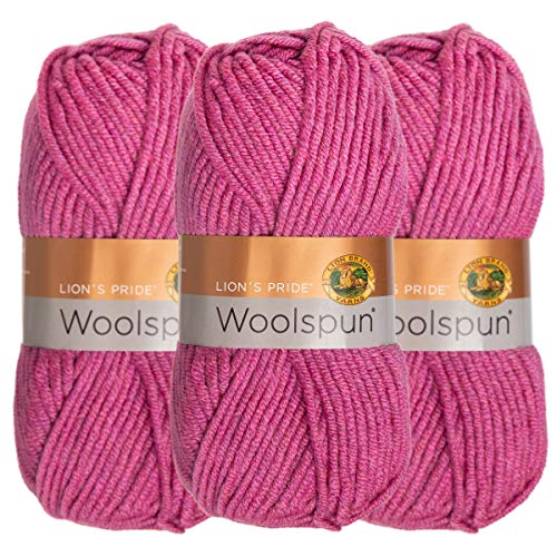 Lion Brand (3 Pack) Woolspun Acrylic & Wool Soft Stone Mix White Black Gray Yarn for Knitting Crocheting Bulky #5