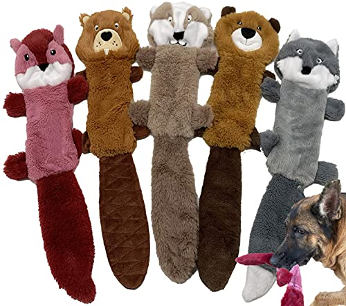 Jalousie 5 Pack Stuffingless Dog Squeaky Toys Dog Toy Dog w/ Durable Liner No Stuffing Dog Toy - Dog Toys for Pets Dogs No Stuffing Dog Squeaker Toy for Medium Large Dogs