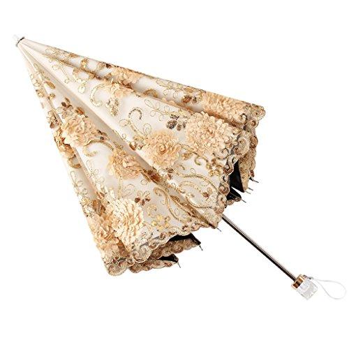 ZH Regenschirme Regenschirm-kompakte Spitze-Hochzeits-faltende Reise Sonneschutz innerhalb der schwarzen Anti-UVschicht-glänzenden Entwurfs-UV geschützten Sonnenschirm für Damen UPF50 (Farbe : Gold)