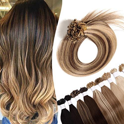 SEGO Extensions a Chaud 0.5g Keratine Cheveux Naturel - 60 cm 4P27#Châtain Chocolat & Blond Foncé (0.5g *100 Pièce) - Rajout Meche Humain