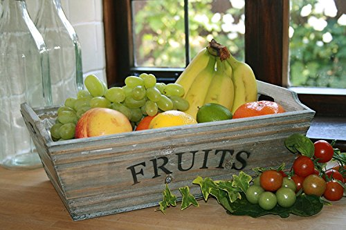 Grey Washed Wood Fruit Storage Box Medium Size Crate Rustic Market Vegetable Trug Vintage Farm Shop Style Wooden Container