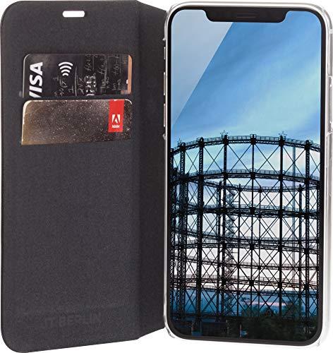 Preisvergleich Produktbild JT Berlin FolioCase Hülle Schöneberg für Apple iPhone XR (Handarbeit,  Transparente Hartschale,  Standfunktion,  Kartenfächer) Schwarz - 10399