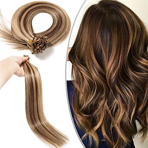 Extension Capelli Veri Cheratina 100 Ciocche Meches - 50cm #4/#27 Marrone Cioccolato/Biondo Scuro - 100% Remy Human Hair Pre Bonded U Tip Nail Hair 0.5g/fascia