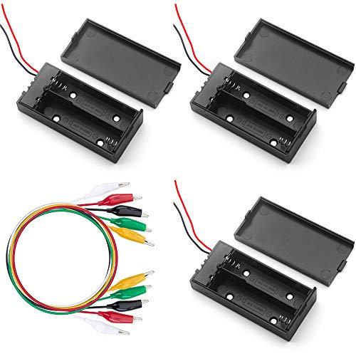 3 Pcs 18650 Battery Case Custodia in Plastic Interruttore ON / OFF Porta Batterie per 2 batterie, +20 pcs Morsetti a Coccodrillo Linea (Nero)