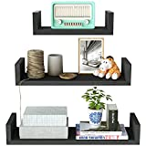 SRIWATANA Floating Shelves Wall Mounted, Solid Wood Wall Shelves (Antique Black Finish)