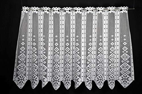 VHG Scheibengardine in rustikaler Optik 75 cm hoch | Breite der Gardine durch gekaufte Menge in 17,5 cm Schritten wählbar (Anfertigung nach Maß) | Weiß | Vorhang Küche Wohnzimmer