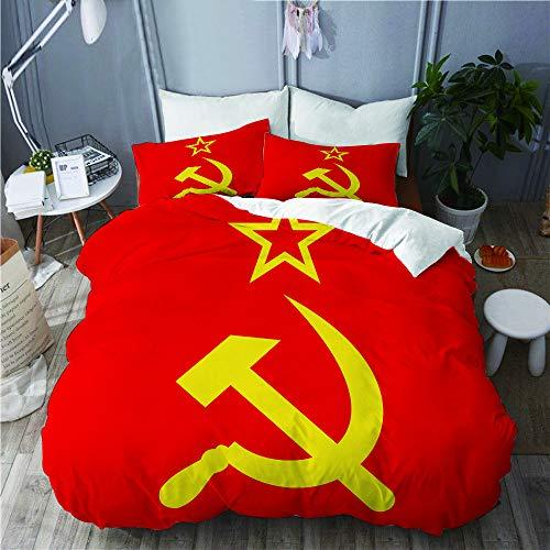 JOSENI Bettwäsche-Set,Ikone des Kommunismus der UDSSR mit Hammer und Sichel,Mikrofaser Bettbezüge Set mit Reißverschluss,und Kopfkissenbezüge,220x240