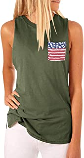 Women's Sleeveless High Collar Flag Pocket Independence Day Tank Top