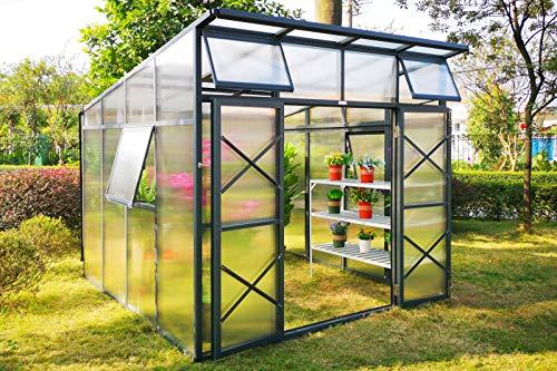OUTFLEXX Garten-Gewächshaus, 7,6 m², Gestell Aluminium mit Polycarbonat-Hohlkammerplatten, Treibhaus ca. 295x259x252/180 cm
