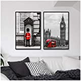 AdoDecor Big Ben Photo London Guard Fotografía Carteles e Impresiones Londres Arte de la Pared Lienzo Pintura Rojo Negro Imágenes Decoración de la Pared del hogar 50x70cmx2 Sin Marco