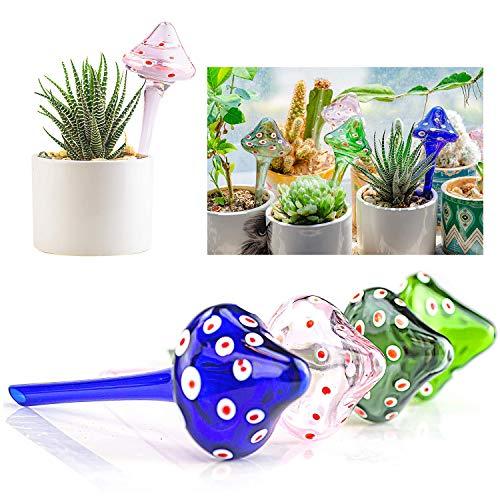 Kikunum 4 Pieces Plant Glass Watering Globes,Hand-Blown Glass Multicolored Glass Plant Watering Globes