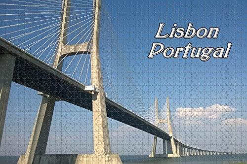 Portugal Puente Vasco da Gama en Lisboa 1000 Pieza de Rompecabezas Juego de Puzzle de obras de Arte para Adultos,Rompecabezas Juguetes de Regalo Desafío de Rompecabezas de Regalo para los Adultos Ado