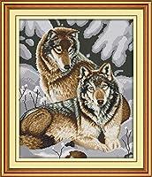 クロス ステッチ DIY 手作り刺繍キット 正確な図柄印刷クロスステッチ 家庭刺繍装飾品 雪狼カップル 40x50cm