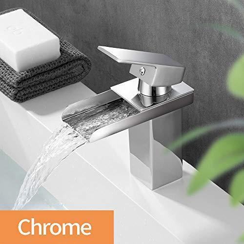 Grifo de lavabo Grifo de cascada para baño Grifo de baño de cromo para cascada con una sola mano Grifo montado en cubierta