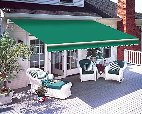 iropro DIY Patio Retractable Manual Awning, Gazebo Outdoor Canopy, Garden Sun Shade Shelter with Fittings and Crank Handle (3x2.5M, Grey)