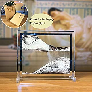 Feili Moving Sand Art Picture Deep Sea Dynamic 3D Sandscapes Pictures in Motion Office Desktop Art Decor Toys (Coffee Gold, 10 inch)
