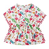 Carolilly Robe de Plage Cache Maillot de Bain Enfant Bébé Fille avec Cactus et Fleurs ou Flamants Imprimé Chic Mignon (6Mois-5Ans),Blanc Flamant,2-3 ans