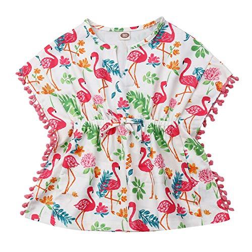 Little Girls Linen Cactus Flamingo Cover-up Beach Swimsuit Coverup Pompom Tassel Sundress (Flamingo, 4-5T)