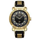 JBW Men's JB-6225-J 562 Pave Dial Diamond Gold Black Rubber Band Watch