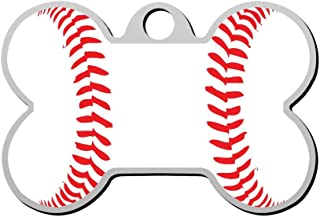 GPZHM Stitche Baseball Pet ID Tags Personalized Custom Print Bone Shape Dog Tags & Cat Tags